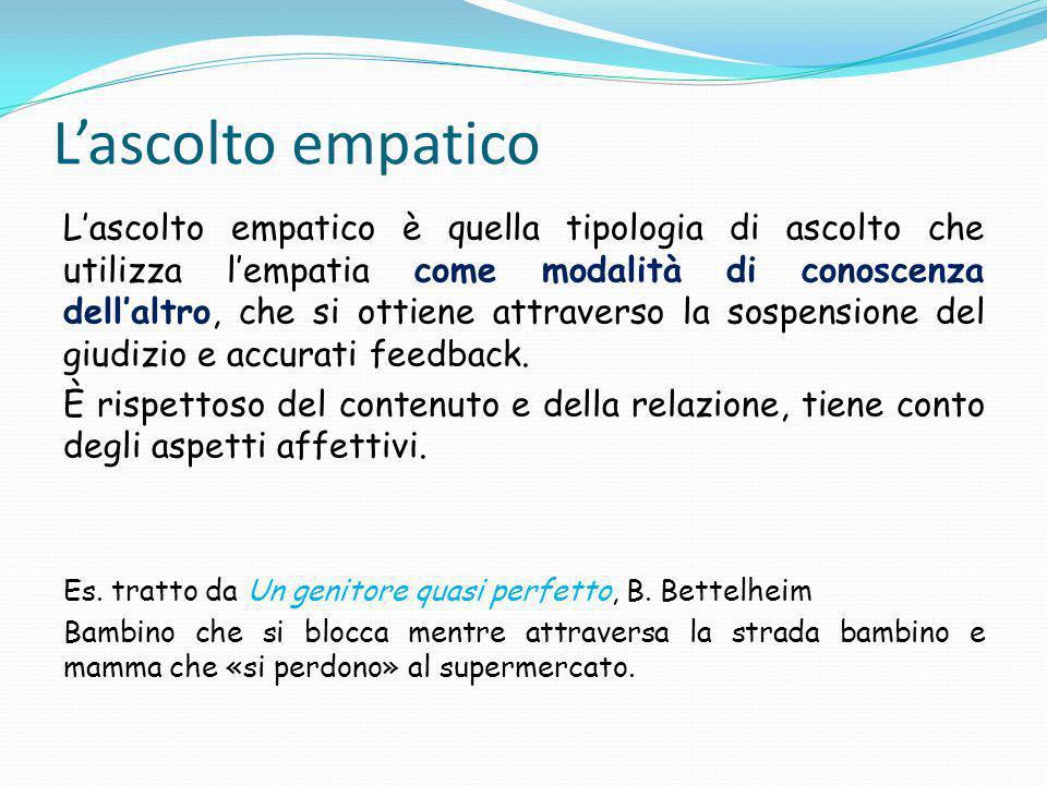 Lascolto empatico Lascolto empatico è quella tipologia di ascolto che utilizza lempatia come modalità di conoscenza dellaltro, che si ottiene attraverso la sospensione del giudizio e accurati feedback.