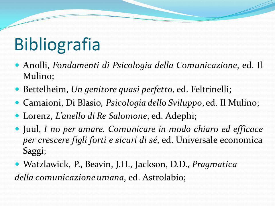 Bibliografia Anolli, Fondamenti di Psicologia della Comunicazione, ed. Il Mulino; Bettelheim, Un genitore quasi perfetto, ed. Feltrinelli; Camaioni, D