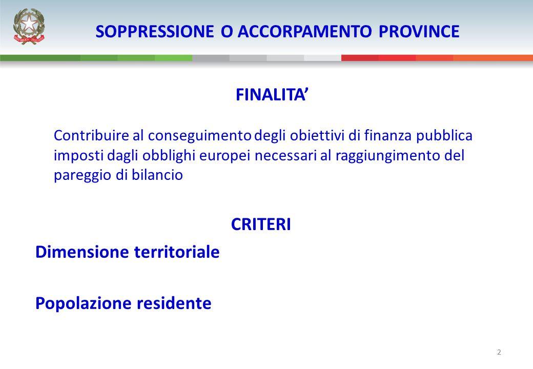 2 SOPPRESSIONE O ACCORPAMENTO PROVINCE FINALITA Contribuire al conseguimento degli obiettivi di finanza pubblica imposti dagli obblighi europei necess