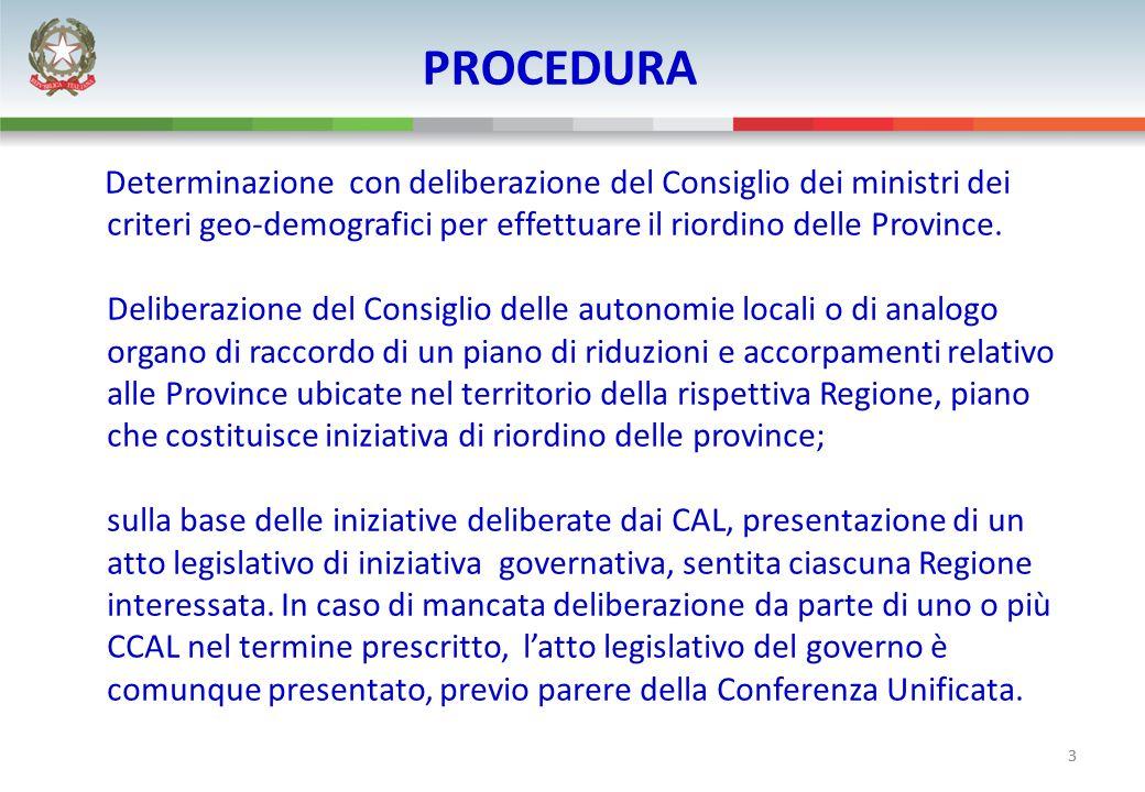 3 PROCEDURA Determinazione con deliberazione del Consiglio dei ministri dei criteri geo-demografici per effettuare il riordino delle Province. Deliber