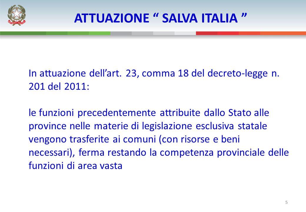 5 ATTUAZIONE SALVA ITALIA In attuazione dellart. 23, comma 18 del decreto-legge n. 201 del 2011: le funzioni precedentemente attribuite dallo Stato al