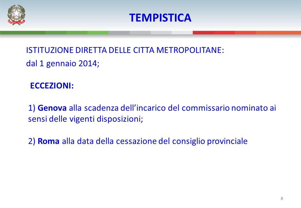 8 TEMPISTICA ISTITUZIONE DIRETTA DELLE CITTA METROPOLITANE: dal 1 gennaio 2014; ECCEZIONI: 1) Genova alla scadenza dellincarico del commissario nomina