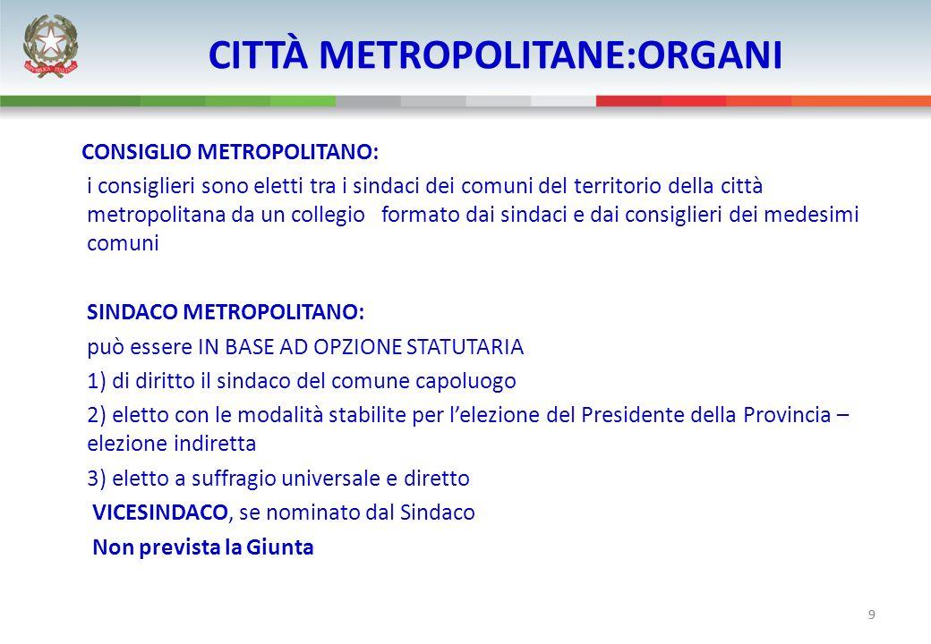 9 CITTÀ METROPOLITANE:ORGANI CONSIGLIO METROPOLITANO: i consiglieri sono eletti tra i sindaci dei comuni del territorio della città metropolitana da u