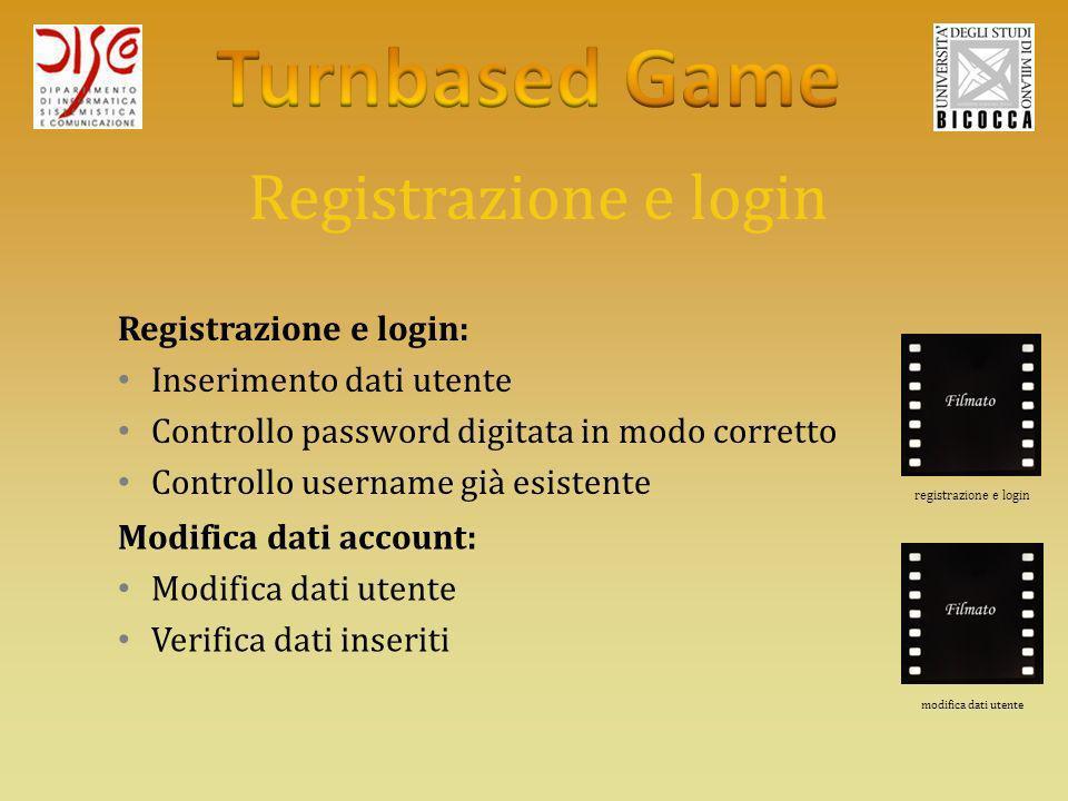 Registrazione e login Registrazione e login: Inserimento dati utente Controllo password digitata in modo corretto Controllo username già esistente Modifica dati account: Modifica dati utente Verifica dati inseriti registrazione e login modifica dati utente