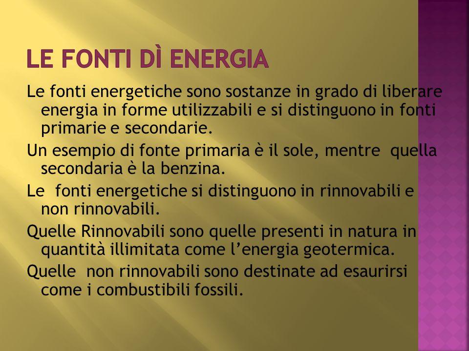 Le fonti energetiche sono sostanze in grado di liberare energia in forme utilizzabili e si distinguono in fonti primarie e secondarie. Un esempio di f