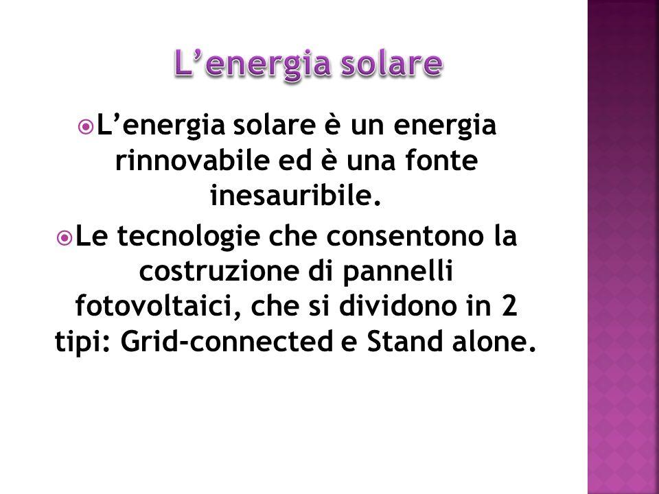 Lenergia solare è un energia rinnovabile ed è una fonte inesauribile. Le tecnologie che consentono la costruzione di pannelli fotovoltaici, che si div