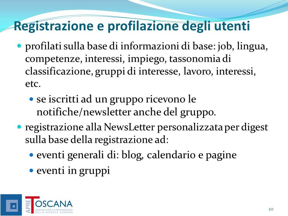 Registrazione e profilazione degli utenti profilati sulla base di informazioni di base: job, lingua, competenze, interessi, impiego, tassonomia di classificazione, gruppi di interesse, lavoro, interessi, etc.