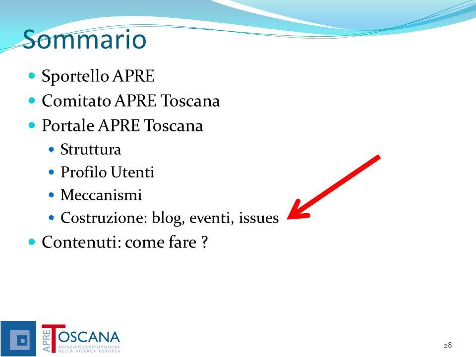 Sommario Sportello APRE Comitato APRE Toscana Portale APRE Toscana Struttura Profilo Utenti Meccanismi Costruzione: blog, eventi, issues Contenuti: come fare .