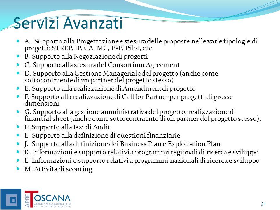 Servizi Avanzati A. Supporto alla Progettazione e stesura delle proposte nelle varie tipologie di progetti: STREP, IP, CA, MC, PsP, Pilot, etc. B. Sup