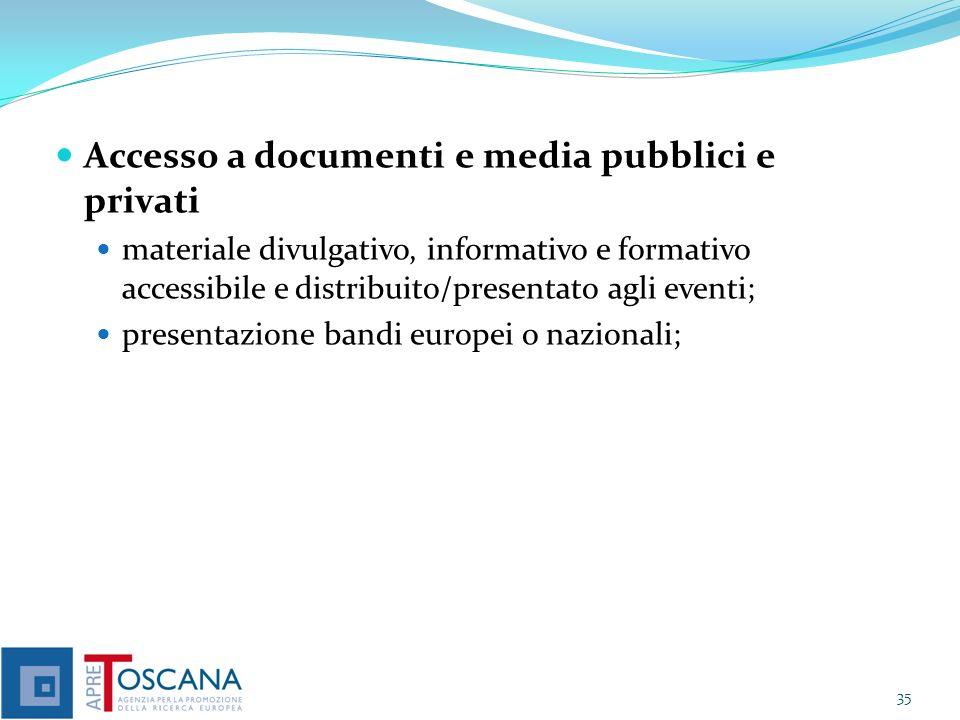 Accesso a documenti e media pubblici e privati materiale divulgativo, informativo e formativo accessibile e distribuito/presentato agli eventi; presentazione bandi europei o nazionali; 35