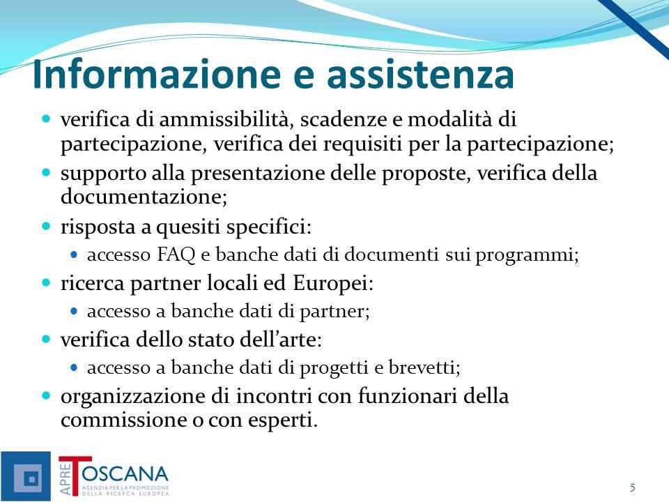 Informazione e assistenza verifica di ammissibilità, scadenze e modalità di partecipazione, verifica dei requisiti per la partecipazione; supporto all
