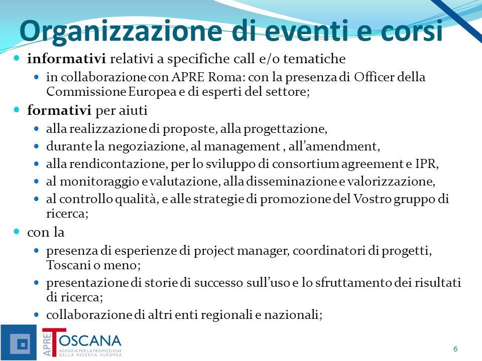 Organizzazione di eventi e corsi informativi relativi a specifiche call e/o tematiche in collaborazione con APRE Roma: con la presenza di Officer dell