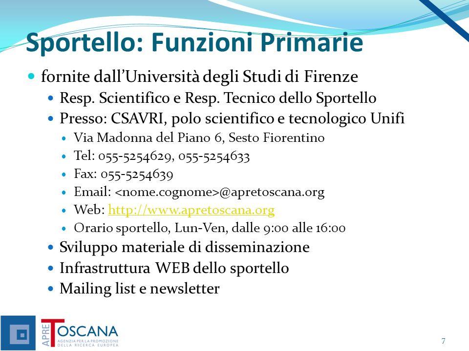 Sportello: Funzioni Primarie fornite dallUniversità degli Studi di Firenze Resp.