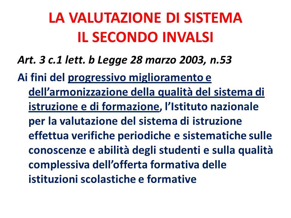 LA VALUTAZIONE DI SISTEMA IL SECONDO INVALSI Art. 3 c.1 lett. b Legge 28 marzo 2003, n.53 Ai fini del progressivo miglioramento e dellarmonizzazione d