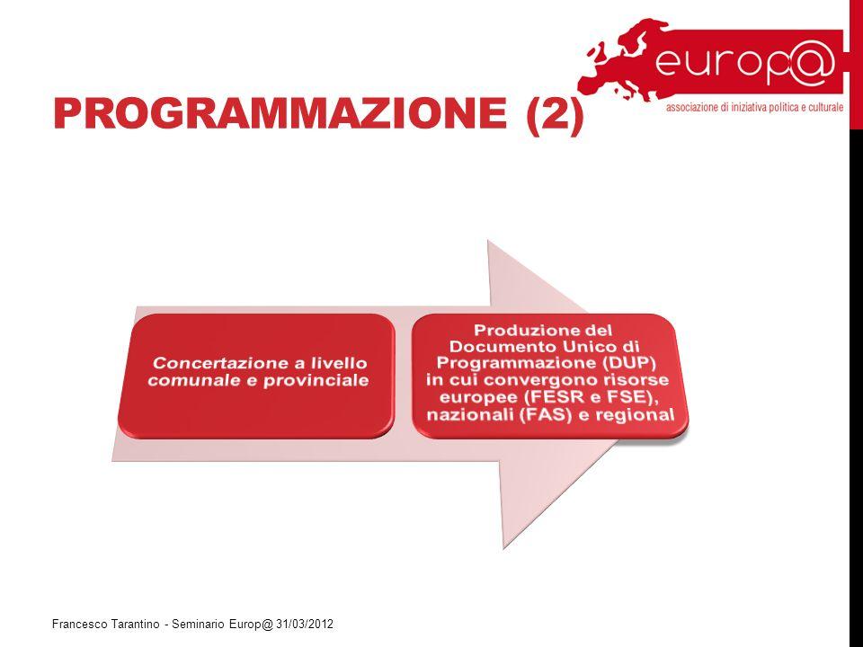 PROGRAMMAZIONE (2) Francesco Tarantino - Seminario Europ@ 31/03/2012
