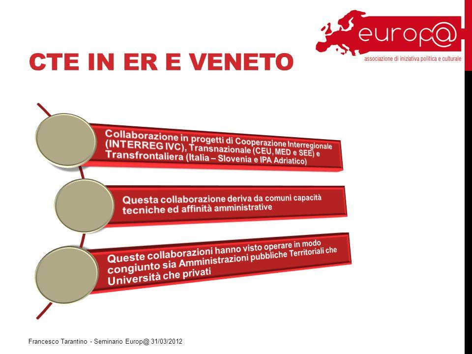 CTE IN ER E VENETO Francesco Tarantino - Seminario Europ@ 31/03/2012