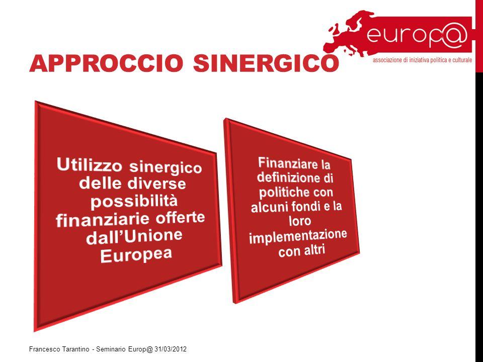 APPROCCIO SINERGICO Francesco Tarantino - Seminario Europ@ 31/03/2012