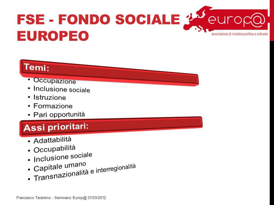 FSE - FONDO SOCIALE EUROPEO Francesco Tarantino - Seminario Europ@ 31/03/2012