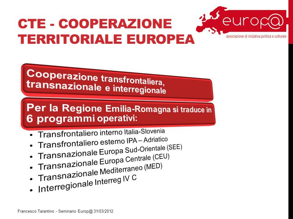 CTE - COOPERAZIONE TERRITORIALE EUROPEA Francesco Tarantino - Seminario Europ@ 31/03/2012