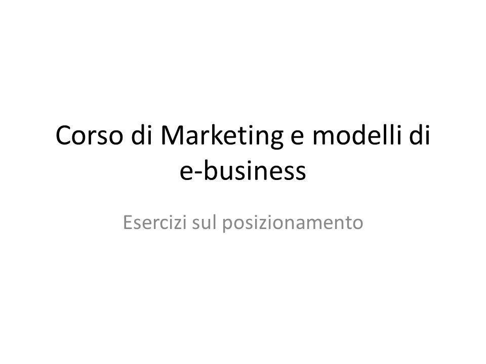Corso di Marketing e modelli di e-business Esercizi sul posizionamento