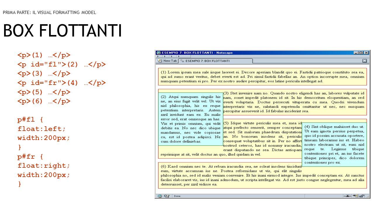 BOX FLOTTANTI (1) … (2) … (3) … (4) … (5) … (6) … p#fl { float:left; width:200px; } p#fr { float:right; width:200px; } PRIMA PARTE: IL VISUAL FORMATTI
