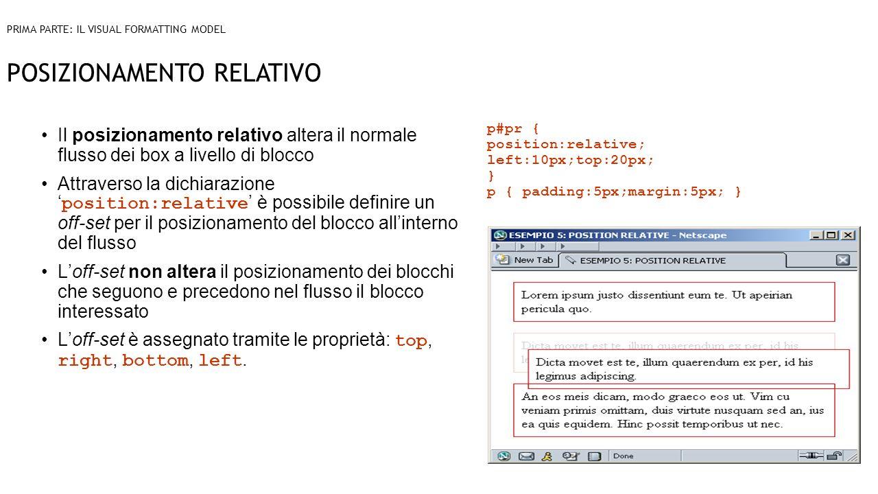 POSIZIONAMENTO RELATIVO Il posizionamento relativo altera il normale flusso dei box a livello di blocco Attraverso la dichiarazione position:relative