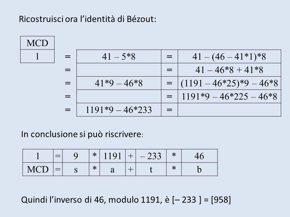 Ricostruisci ora lidentità di Bézout: MCD 1 =41 – 5*8=41 – (46 – 41*1)*8 ==41 – 46*8 + 41*8 =41*9 – 46*8=(1191 – 46*25)*9 – 46*8 ==1191*9 – 46*225 – 4