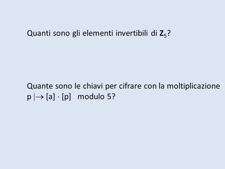 Quanti sono gli elementi invertibili di Z 5 ? Quante sono le chiavi per cifrare con la moltiplicazione p [a] [p] modulo 5?