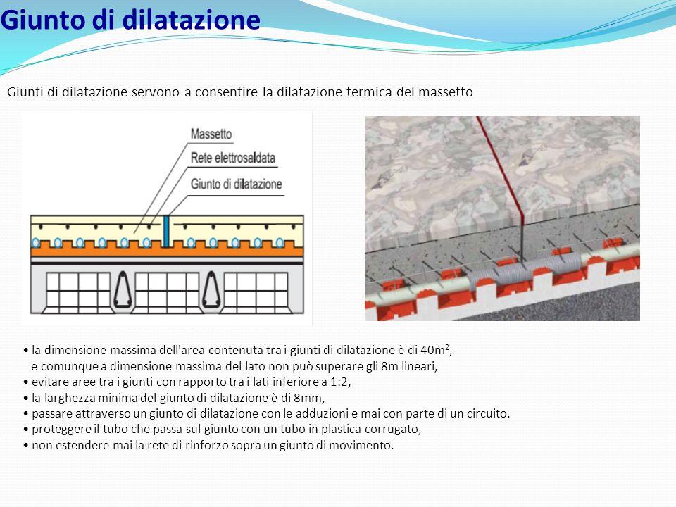 Giunto di dilatazione Giunti di dilatazione servono a consentire la dilatazione termica del massetto la dimensione massima dell'area contenuta tra i g