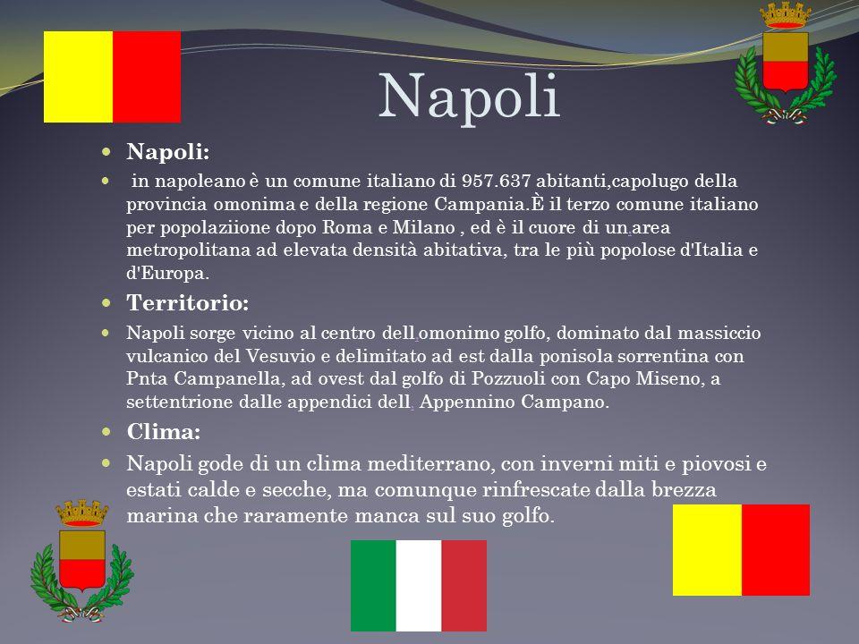 Napoli Napoli: in napoleano è un comune italiano di 957.637 abitanti,capolugo della provincia omonima e della regione Campania.È il terzo comune italiano per popolaziione dopo Roma e Milano, ed è il cuore di unarea metropolitana ad elevata densità abitativa, tra le più popolose d Italia e d Europa.