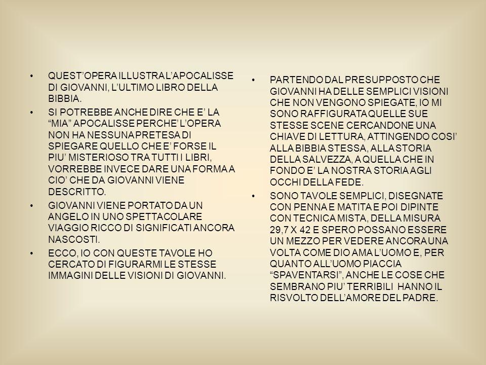 QUESTOPERA ILLUSTRA LAPOCALISSE DI GIOVANNI, LULTIMO LIBRO DELLA BIBBIA.