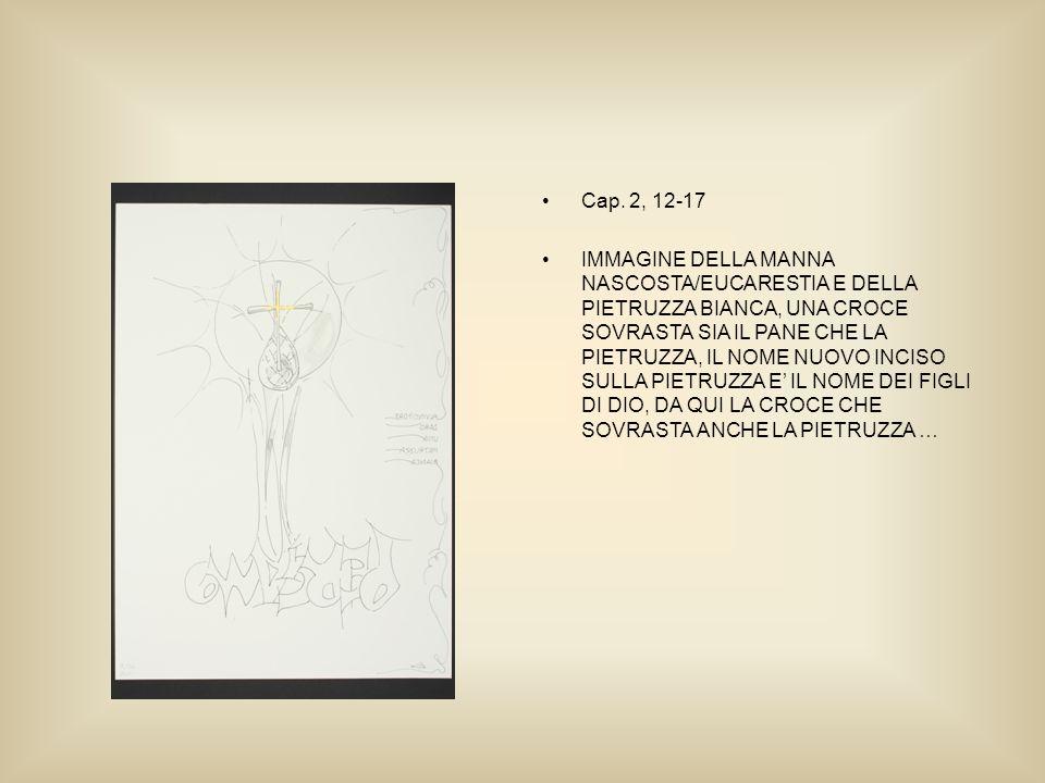 Cap. 2, 12-17 IMMAGINE DELLA MANNA NASCOSTA/EUCARESTIA E DELLA PIETRUZZA BIANCA, UNA CROCE SOVRASTA SIA IL PANE CHE LA PIETRUZZA, IL NOME NUOVO INCISO