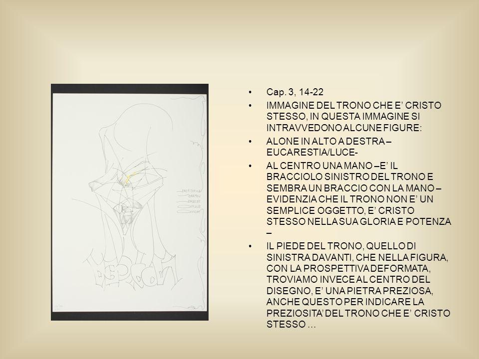 Cap. 3, 14-22 IMMAGINE DEL TRONO CHE E CRISTO STESSO, IN QUESTA IMMAGINE SI INTRAVVEDONO ALCUNE FIGURE: ALONE IN ALTO A DESTRA – EUCARESTIA/LUCE- AL C