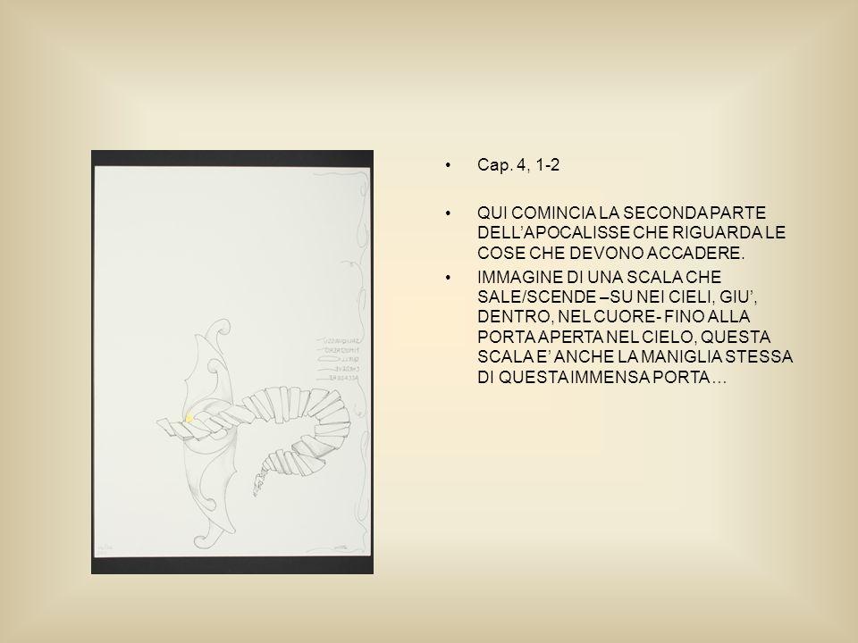 Cap. 4, 1-2 QUI COMINCIA LA SECONDA PARTE DELLAPOCALISSE CHE RIGUARDA LE COSE CHE DEVONO ACCADERE.