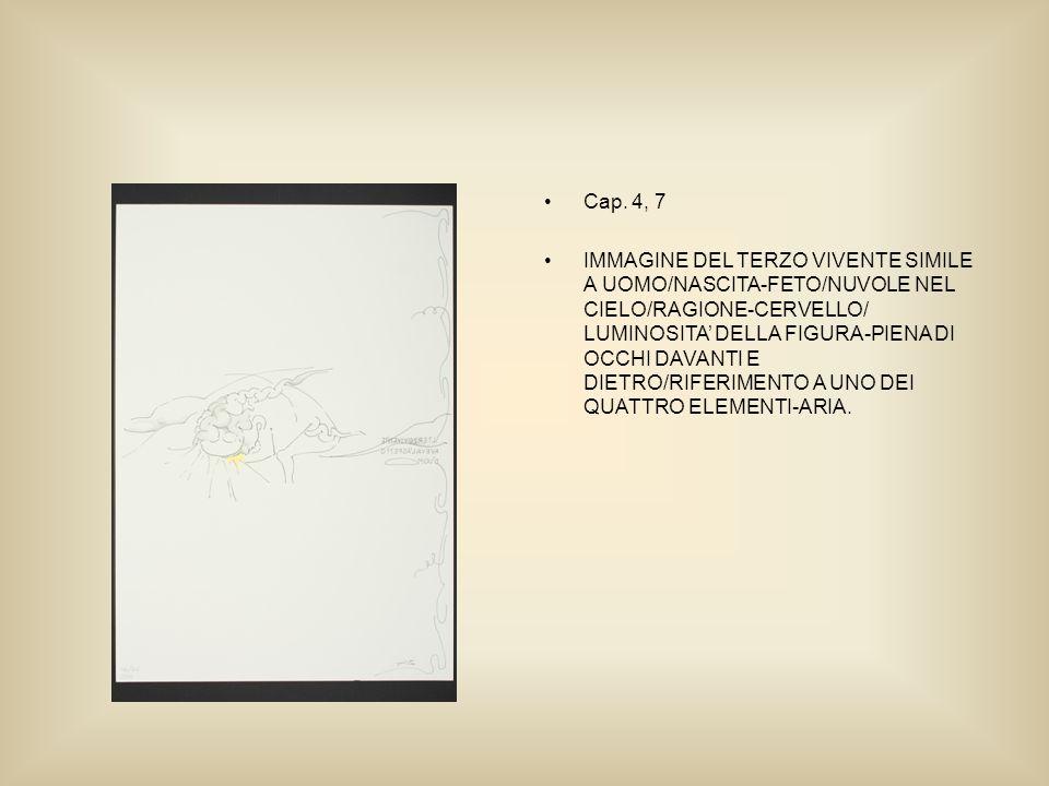 Cap. 4, 7 IMMAGINE DEL TERZO VIVENTE SIMILE A UOMO/NASCITA-FETO/NUVOLE NEL CIELO/RAGIONE-CERVELLO/ LUMINOSITA DELLA FIGURA-PIENA DI OCCHI DAVANTI E DI