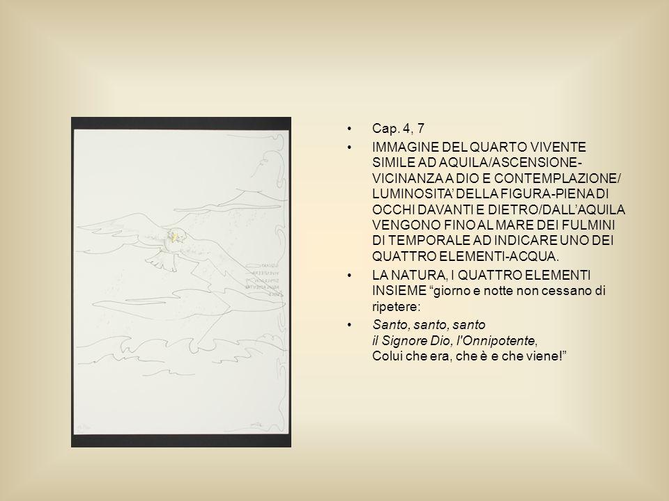 Cap. 4, 7 IMMAGINE DEL QUARTO VIVENTE SIMILE AD AQUILA/ASCENSIONE- VICINANZA A DIO E CONTEMPLAZIONE/ LUMINOSITA DELLA FIGURA-PIENA DI OCCHI DAVANTI E