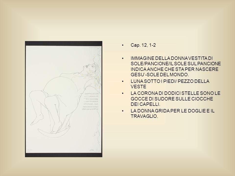 Cap. 12, 1-2 IMMAGINE DELLA DONNA VESTITA DI SOLE/PANCIONE/IL SOLE SUL PANCIONE INDICA ANCHE CHE STA PER NASCERE GESU-SOLE DEL MONDO. LUNA SOTTO I PIE