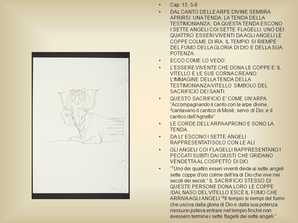 Cap. 15, 5-8 DAL CANTO DELLE ARPE DIVINE SEMBRA APRIRSI UNA TENDA, LA TENDA DELLA TESTIMONIANZA, DA QUESTA TENDA ESCONO I SETTE ANGELI COI SETTE FLAGE
