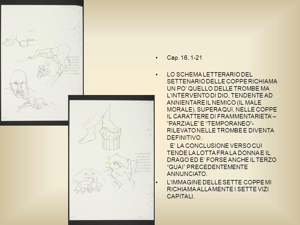 Cap. 16, 1-21 LO SCHEMA LETTERARIO DEL SETTENARIO DELLE COPPE RICHIAMA UN PO QUELLO DELLE TROMBE MA LINTERVENTO DI DIO, TENDENTE AD ANNIENTARE IL NEMI