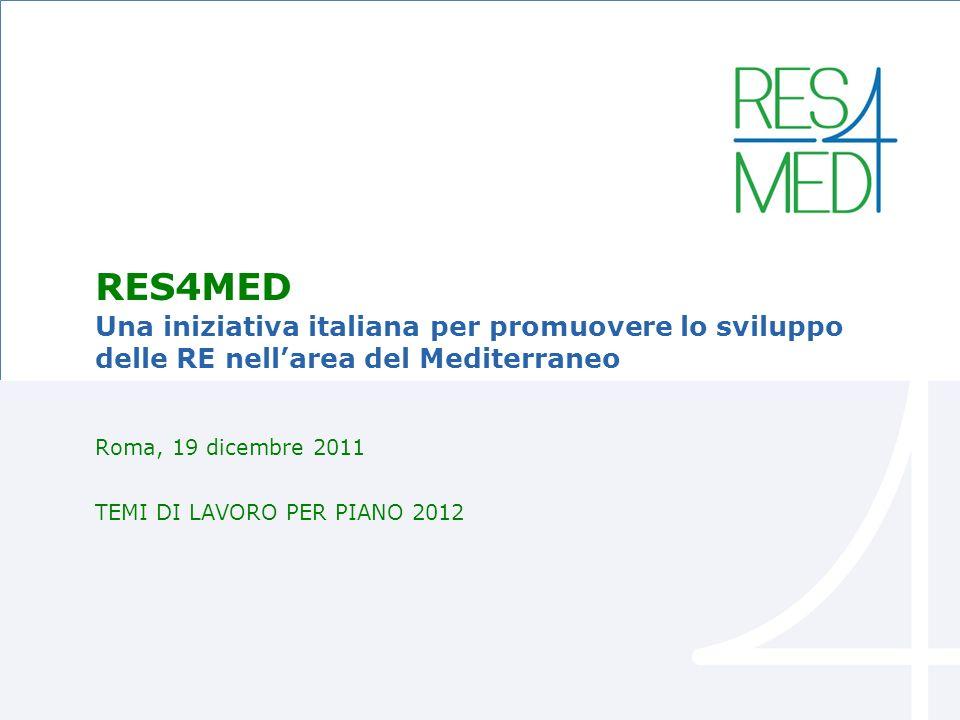 DataTitolo presentazione 1 RES4MED Una iniziativa italiana per promuovere lo sviluppo delle RE nellarea del Mediterraneo Roma, 19 dicembre 2011 TEMI DI LAVORO PER PIANO 2012
