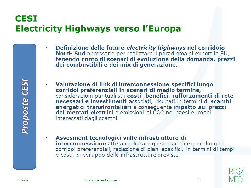 DataTitolo presentazione 11 CESI Electricity Highways verso lEuropa Definizione delle future electricity highways nel corridoio Nord- Sud necessarie per realizzare il paradigma di export in EU, tenendo conto di scenari di evoluzione della domanda, prezzi dei combustibili e dei mix di generazione.