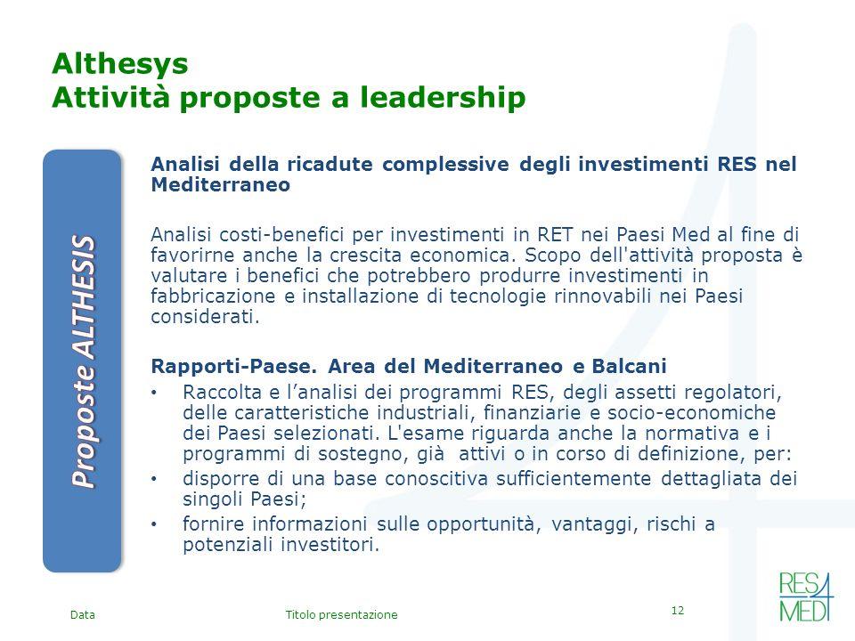 DataTitolo presentazione 12 Althesys Attività proposte a leadership Analisi della ricadute complessive degli investimenti RES nel Mediterraneo Analisi costi-benefici per investimenti in RET nei Paesi Med al fine di favorirne anche la crescita economica.