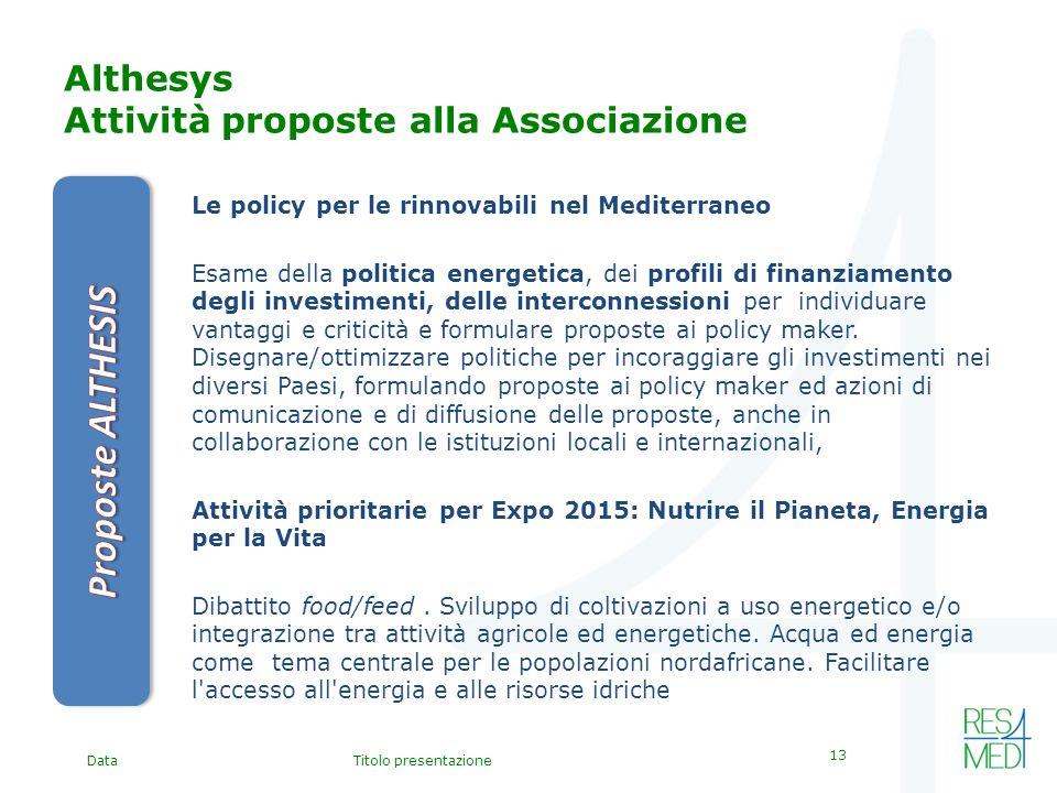 DataTitolo presentazione 13 Althesys Attività proposte alla Associazione Le policy per le rinnovabili nel Mediterraneo Esame della politica energetica, dei profili di finanziamento degli investimenti, delle interconnessioni per individuare vantaggi e criticità e formulare proposte ai policy maker.