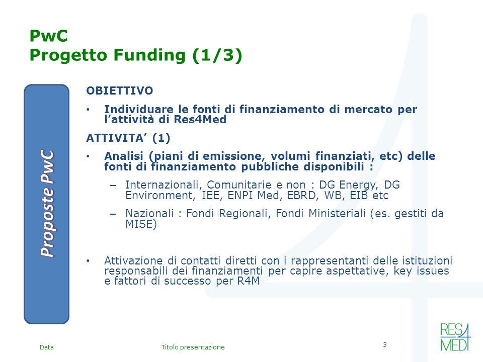 DataTitolo presentazione 3 PwC Progetto Funding (1/3) OBIETTIVO Individuare le fonti di finanziamento di mercato per lattività di Res4Med ATTIVITA (1) Analisi (piani di emissione, volumi finanziati, etc) delle fonti di finanziamento pubbliche disponibili : – Internazionali, Comunitarie e non : DG Energy, DG Environment, IEE, ENPI Med, EBRD, WB, EIB etc – Nazionali : Fondi Regionali, Fondi Ministeriali (es.