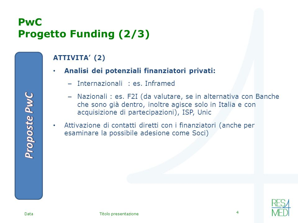 DataTitolo presentazione 4 PwC Progetto Funding (2/3) ATTIVITA (2) Analisi dei potenziali finanziatori privati: – Internazionali : es.