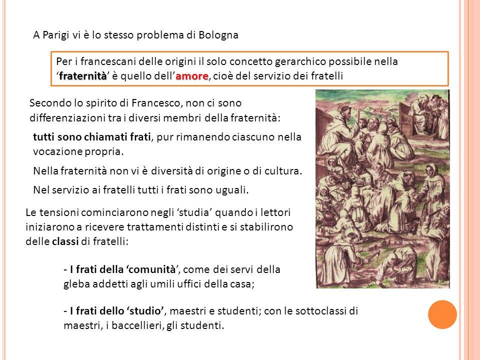 A Parigi vi è lo stesso problema di Bologna fraternitàamore Per i francescani delle origini il solo concetto gerarchico possibile nellafraternità è qu