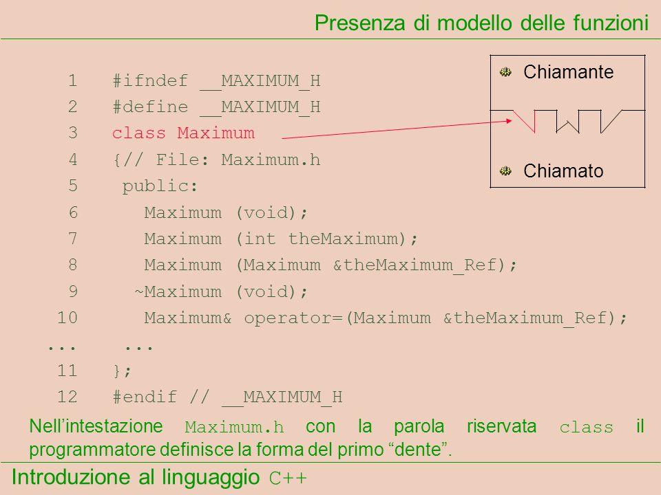 Introduzione al linguaggio C++ Presenza di modello delle funzioni 1 #ifndef __MAXIMUM_H 2 #define __MAXIMUM_H 3 class Maximum 4 {// File: Maximum.h 5 public: 6 Maximum (void); 7 Maximum (int theMaximum); 8 Maximum (Maximum &theMaximum_Ref); 9 ~Maximum (void); 10 Maximum& operator=(Maximum &theMaximum_Ref);......
