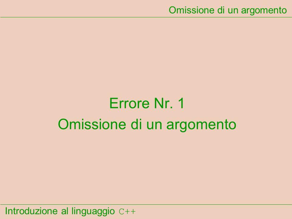 Introduzione al linguaggio C++ Omissione di un argomento Errore Nr. 1 Omissione di un argomento