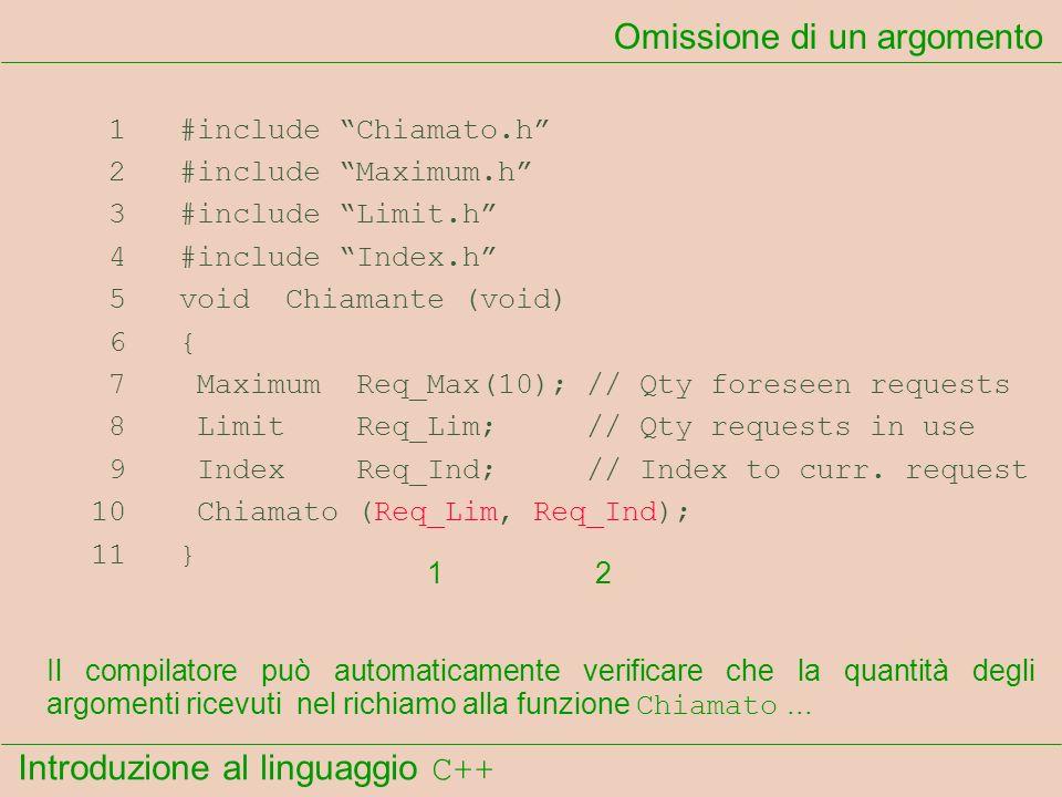 Introduzione al linguaggio C++ Omissione di un argomento 1 #include Chiamato.h 2 #include Maximum.h 3 #include Limit.h 4 #include Index.h 5 void Chiam
