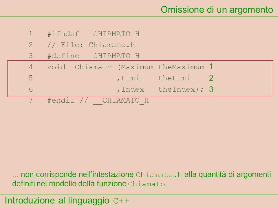 Introduzione al linguaggio C++ Omissione di un argomento 1 #ifndef __CHIAMATO_H 2 // File: Chiamato.h 3 #define __CHIAMATO_H 4 void Chiamato (Maximum theMaximum 5,Limit theLimit 6,Index theIndex); 7 #endif // __CHIAMATO_H...